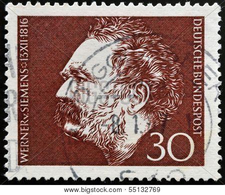 stamp shows Werner von Siemens Electrical Engineer and Inventor