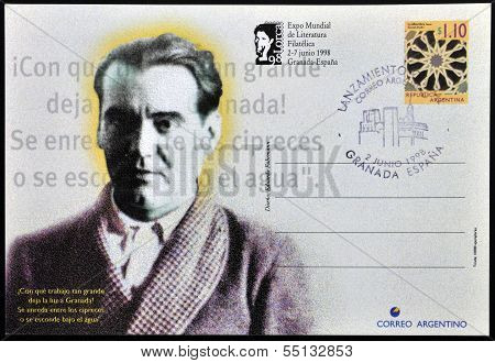 A stamp printed in Argentina showing the universal poet Federico Garcia Lorca
