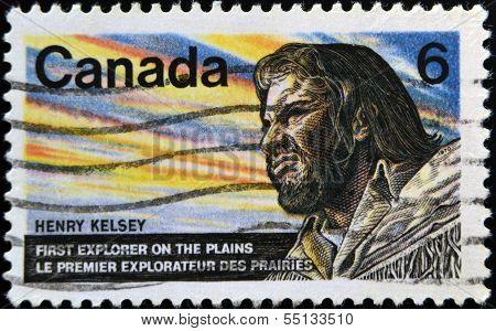 stamp shows Henry Kelsey was an English fur trader explorer and sailor