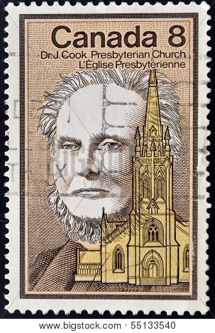 A stamp printed in Canada shows Dr. John Cook presbyterian church