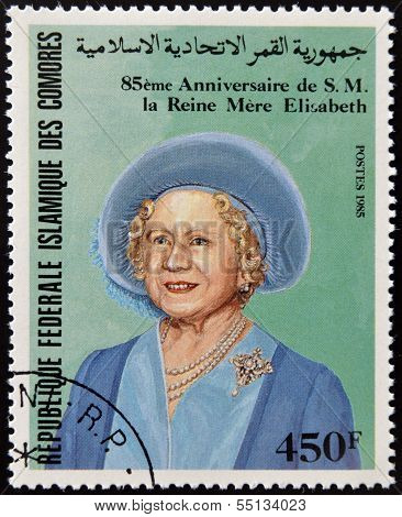 A stamp printed in Comores shows Her Majesty the Queen Mother Elizabeth of England
