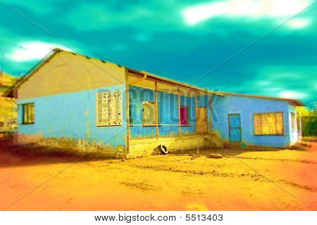 Yellow And Blue House In Painting Style