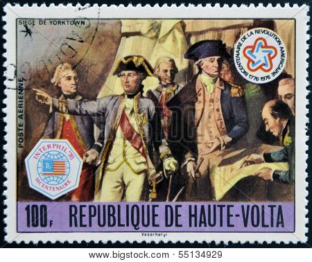 stamp commemorates the US bicentennial and shows the Siege of Yorktown