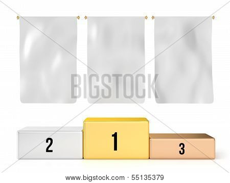 Podium with 3 Blank Flags