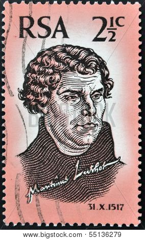 a stamp printed in RSA shows image of Martin Luther