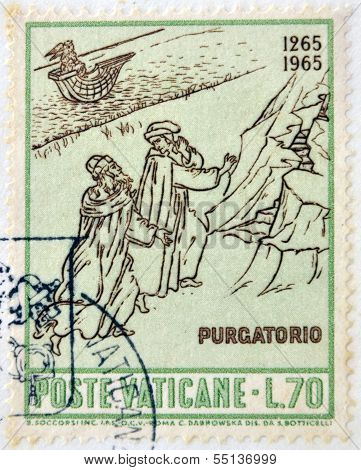stamp dedicated to Anniversary of Birth of Dante shows Dante and Virgil at entrance to Purgatory