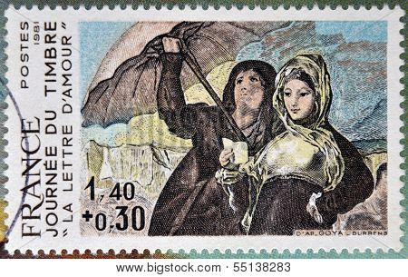 stamp shows Women Along the Manzanares Painting by Francisco Goya love letters