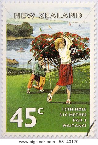 stamp printed in New Zealand shows the game of golf the field of Waitangi (15 holes)
