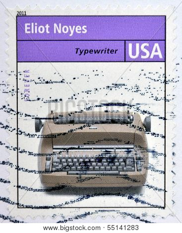 stamp showing an image of a retro typewriter made by the industrial designer Eliot Noves