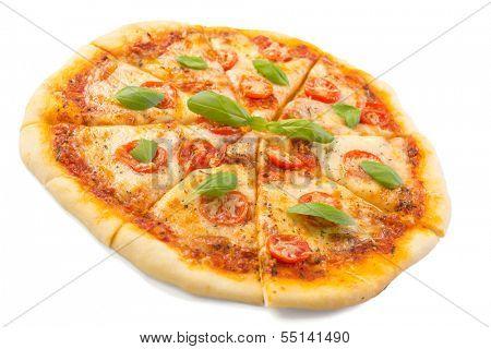 sliced margerita pizza isolated on white background