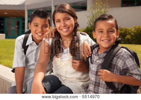 Cute Brothers And Sister Ready For School