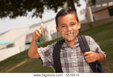 Happy Young Hispanic Boy Ready For School