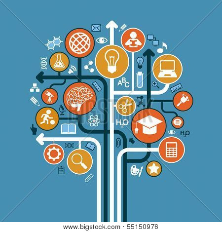 abstract tree with icons. Vector education and science concept.
