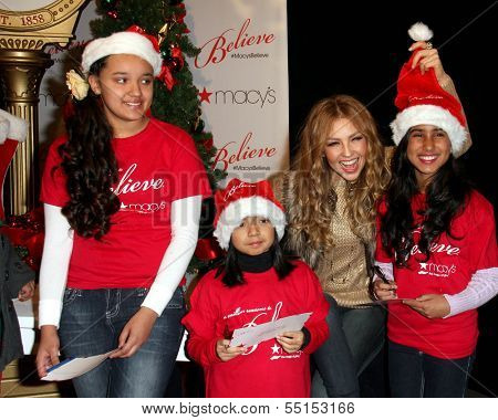 LOS ANGELES - NOV 6:  Thalia, Azucena Ortega, Tiffany Galaviz, Analise Hoveyda at the Thalia and Make-A-Wish Celebrate National Believe Day Event at the Macy's on November 6, 2013 in Glendale, NV
