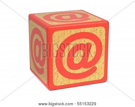 At Sign or Ampersat - Childrens Alphabet Block.