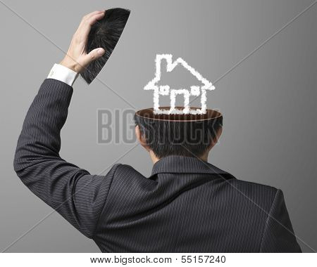 Balance On Job Or Family Concept House Drawing By Cloud Inside Businessman Head On Gray Background