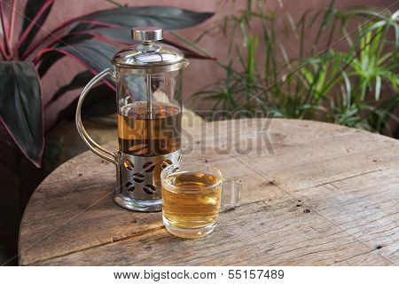 Afternoon Tea Relax On Wooden Background