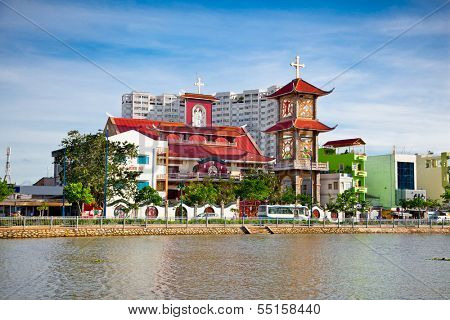 Nha Tho Vinh Hoi catholic church, Ho Chi Minh,  Vietnam. poster