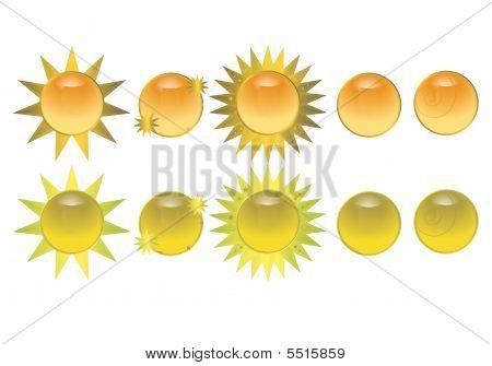 Orange Sun Icon Buttons