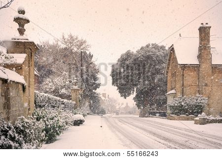 English Village With Snow