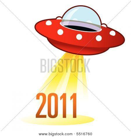 2011 Year Icon On Retro Ufo