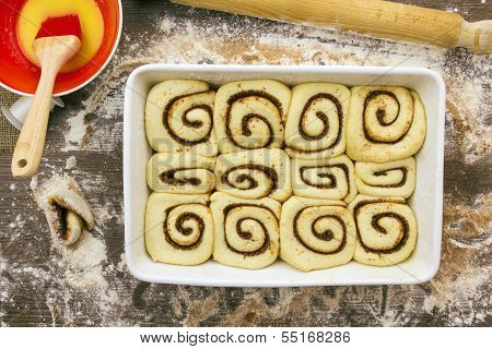 Unbaked And Proved Cinnamon Rolls