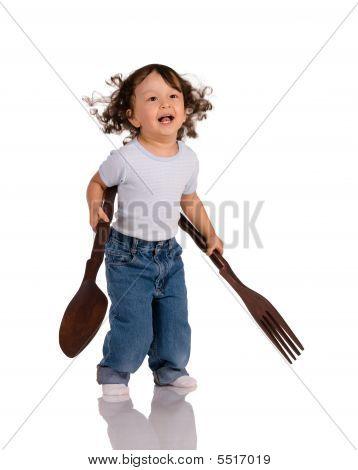 Lapsen Iso lusikka ja haarukka
