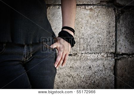 Grungy Asian Teenager Hand, Arms and Lower Body Detail