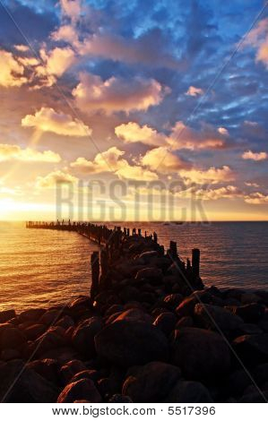 Rocky Pier, Sunrise, Beautiful Cloudscape