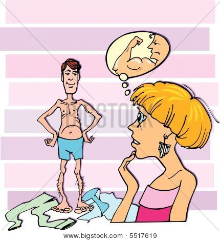 Cuople: Surprised Woman And Thin Guy