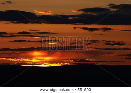 Burning Horizon At Sunset Time