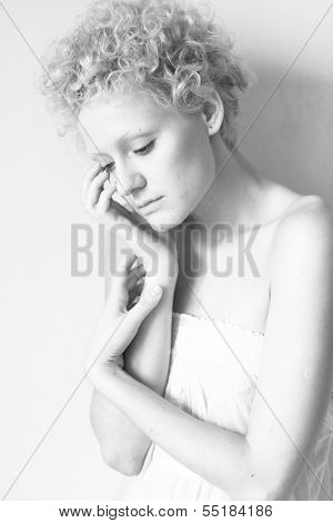 Young scrawny sexy girl, black and white photo