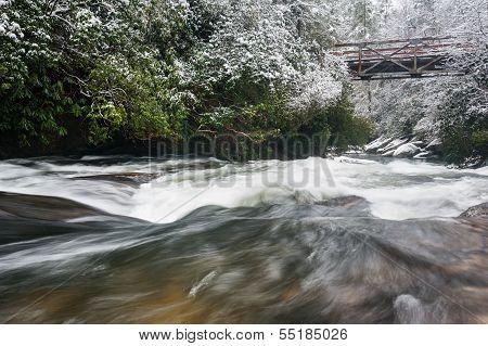 North Carolina Chattooga River Bridge Winter Scenic