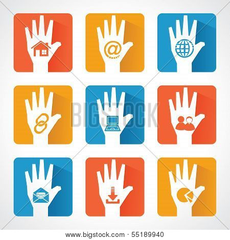 Web icons and design with helping hand