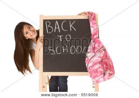 Back To School Asian Female Student By Blackboard