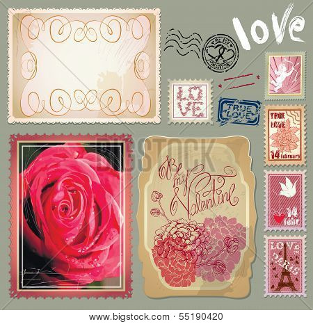 Set Of Vintage Postcards With A Beautiful Hand Drawing Roses And Post Stamps For Valentines Day Desi