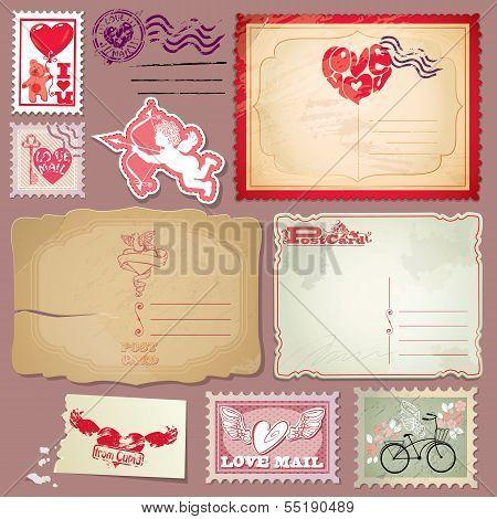 Set Of Vintage Postcards And Post Stamps For Valentines Day Design.