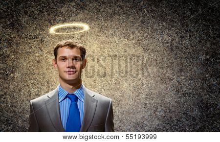 Image of businessman with halo above head