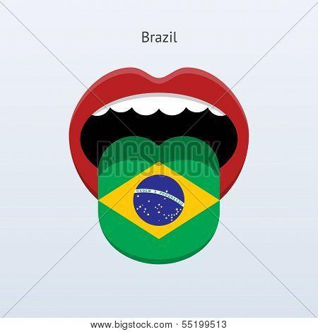Brazil language. Abstract human tongue. Vector illustration. poster