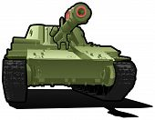 Vector color illustration of tank. (Simple gradients only - no gradient mesh.) poster