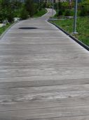 a curved wooden path in a park poster