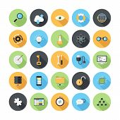 Vector illustration of modern simple flat seo and development icons with long shadow. Design elements for mobile and web applications. poster