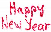 HAPPY NEW YEAR is written with lipstick. Isolated on white background poster