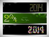 Happy New Year 2014 or Merry Christmas celebration website header or banner set.  poster