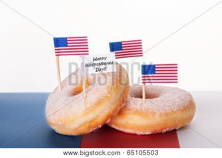 Donuts With Flags And Happy Independence Day