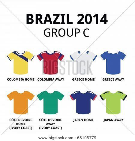 World Cup Brazil 2014 - group C teams football jerseys