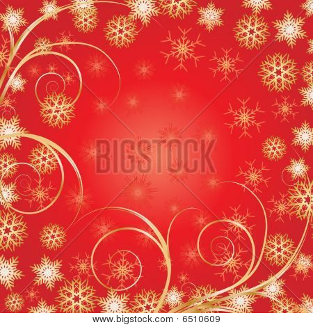 Bacground Red Snowflakes