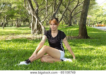 Young Women Sitting With Squirm Her Legs
