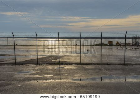 Barrier On A Port Under Blue Sky