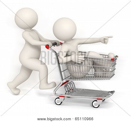 3D People Running With Shopping Cart